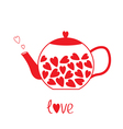 Love teapot with hearts Love card vector image vector image