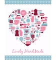 Lovely handmade Heart shape sign of sewing vector image vector image