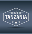 made in tanzania hexagonal white vintage label vector image vector image
