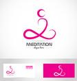 Meditation yoga pose logo vector image vector image