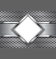 metal background white glass plate on perforated vector image vector image