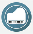 piano icon on white circle with a long shadow vector image vector image