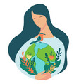 protecting nature and environment planet woman vector image vector image