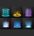 realistic colorful magic portals set vector image vector image
