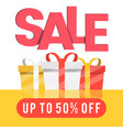 sale up to 50 off gift box background imag vector image