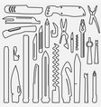 set of lined multifunction knife elements line vector image vector image