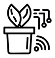 smart plant pot icon outline style vector image