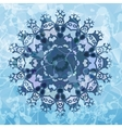 Snowflake like design over blue triangles vector image