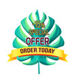 special offer order today with 15 off promo logo vector image vector image