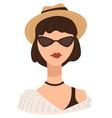 stylish teenage girl wearing fedora hat and vector image
