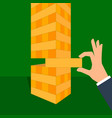 tower game with hands wooden block game vector image