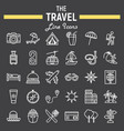 travel line icon set tourism symbols collection vector image