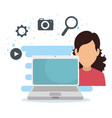 woman with laptop technology and digital apps vector image vector image