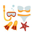 women swimsuit and accessories for diving vector image