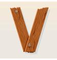 wooden letter v vector image vector image