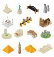 world famous landmarks isometric icons set vector image
