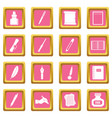 writing icons pink vector image vector image