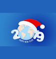 2019 new year design card on blue background vector image vector image