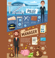 aviation pilot and business manager profession vector image vector image