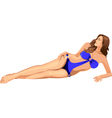 beautiful girl in blue bikini vector image vector image