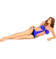 beautiful girl in blue bikini vector image