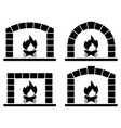black and white clipart set ovens with burning vector image