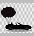 black silhouette of cabriolet car with bunch vector image