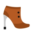 Brown boot with high heel icon flat style vector image vector image