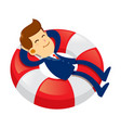 businessman sleeping on a floating life buoy vector image vector image