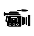 camera glyph icon camcorder videotaping video vector image vector image