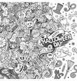 cartoon cute doodles hand drawn happy halloween vector image vector image