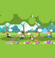 city park relaxing people chat bubbles sitting vector image