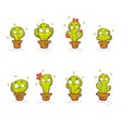 collection cute cartoon cactus in funny doodle vector image