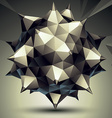 Complicated abstract grayscale 3D shape digital vector image