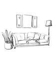contemporary modern interior hand drawing vector image vector image