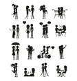 couples in love silhouette set vector image