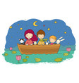 cute cartoon kids in boat funny hares and a vector image