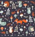 cute woodland animals pattern vector image vector image