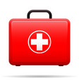 first aid kit red case with medical emblem box vector image