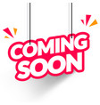 hanging tag coming soon modern web banner element vector image vector image