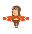 happy little boy in pilot costume playing with vector image