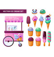 ice cream cart products set vector image vector image