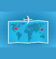 jetliner flight trajectory from country to vector image vector image