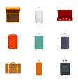 Luggage icon set flat style