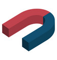magnet 3d isometry blue red horseshoe concept vector image