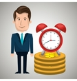 man pile coin clock vector image