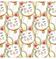maneki neko pattern in hand drawn style vector image