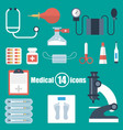 medical set of 14 icons in a flat style vector image vector image
