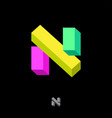 n letter logo red monogram 3d illusion vector image vector image
