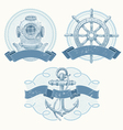 Nautical emblems with hand drawn elements vector image vector image